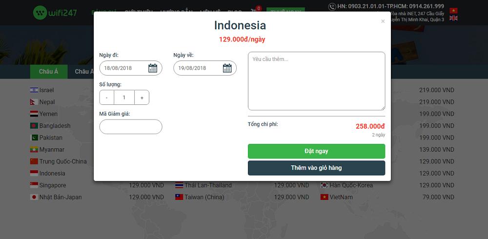 bảng giá thuê Wifi đi Indonesia