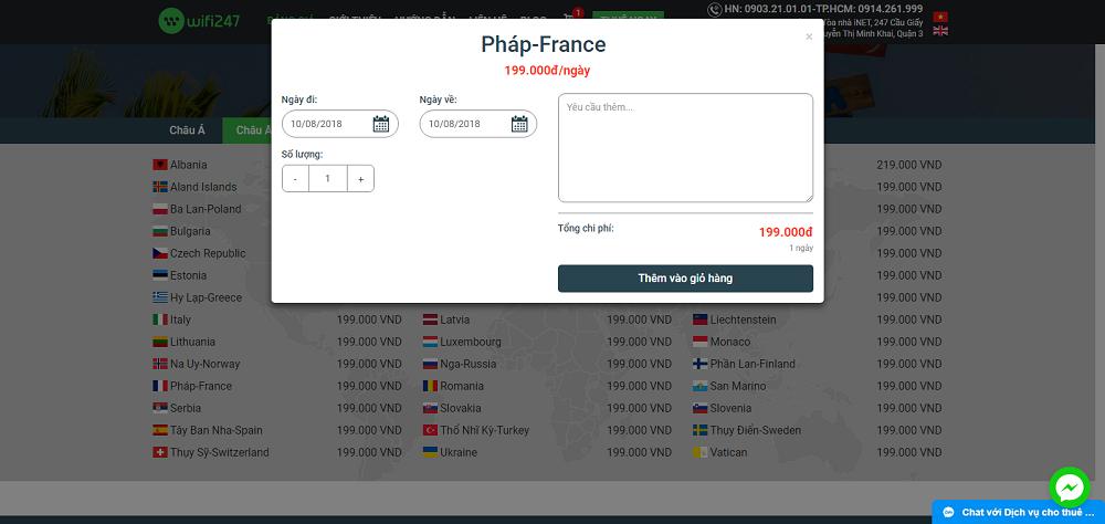Giá thuê Wifi du lịch Pháp