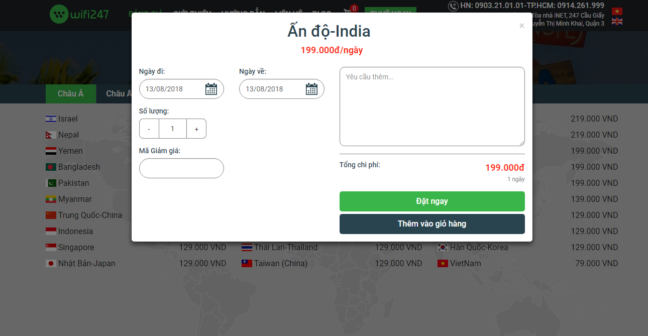 Bảng giá thuê wifi đi Ấn Độ