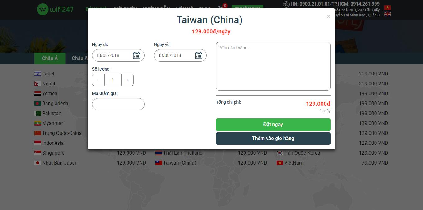 Bảng giá thuê wifi đi Đài Loan